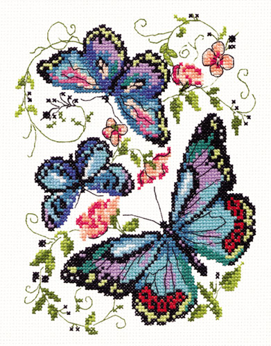 Вышивка Синие бабочки, 42-03,