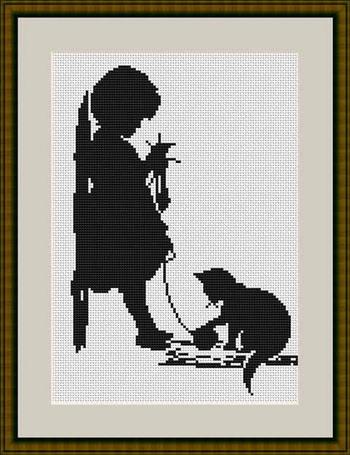Вышивка крестом на белой канве черными нитками схемы 85